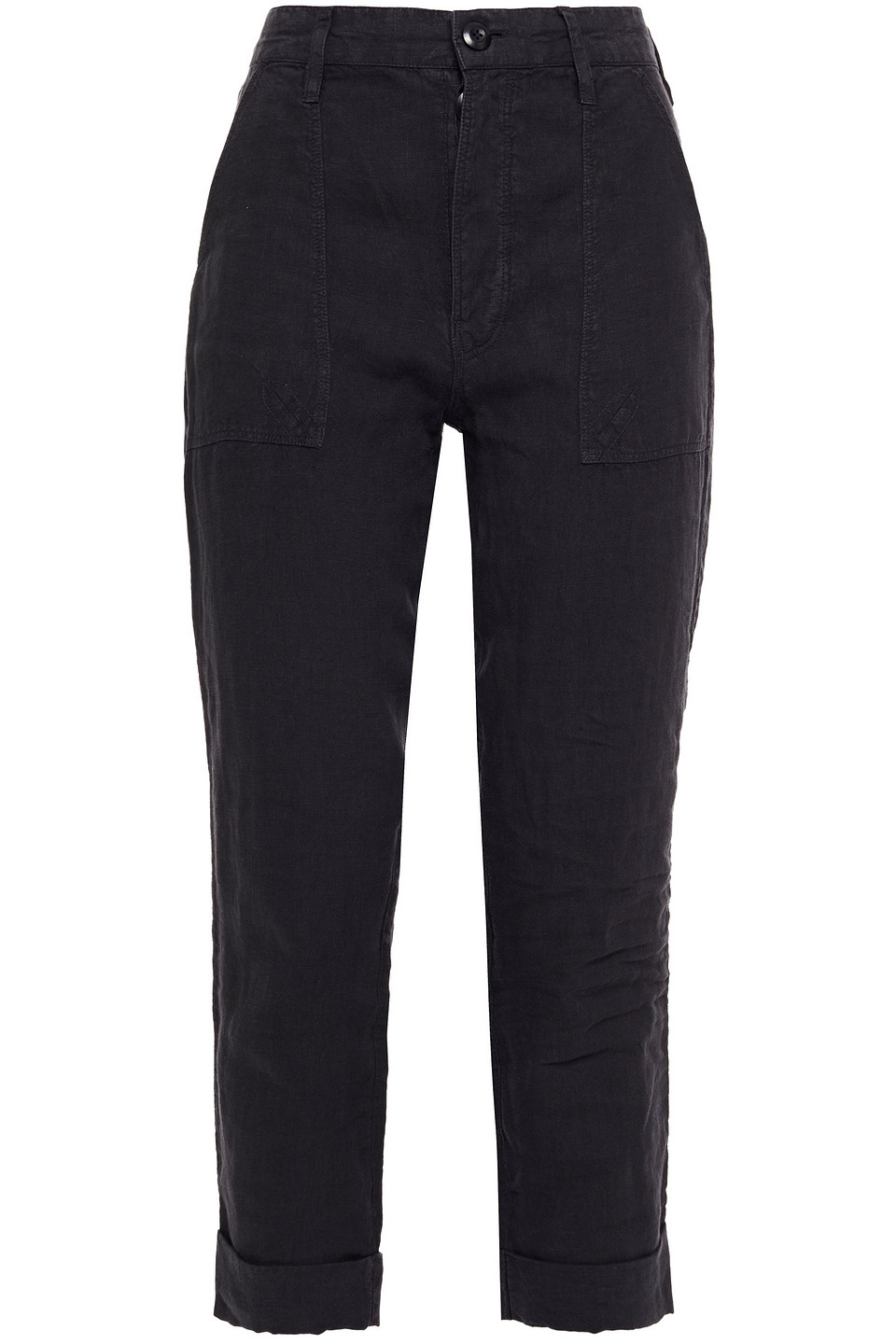 Frame   Frame Woman Le Beau Cropped Linen Tapered Pants Charcoal   Clouty