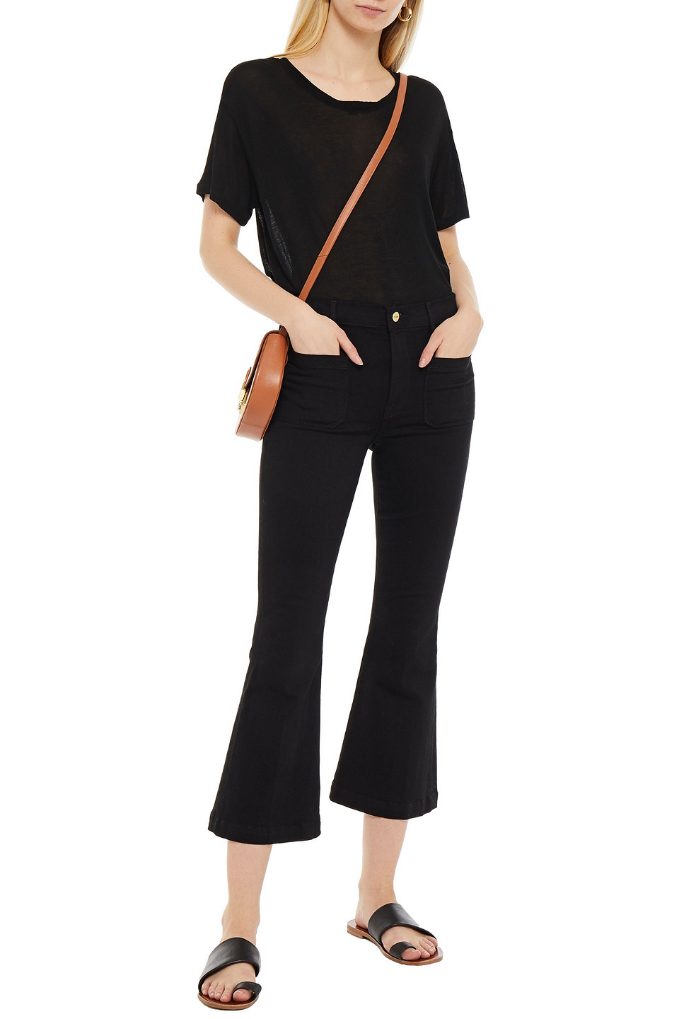 Frame | Frame Woman Le Bardot Crop High-rise Kick-flare Jeans Black | Clouty