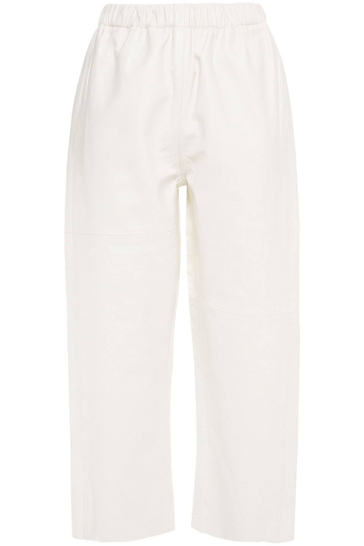 MM6 Maison Margiela | Mm6 Maison Margiela Woman Cropped Gathered Leather Pants White | Clouty