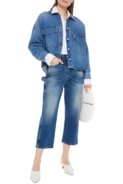 MM6 Maison Margiela | Mm6 Maison Margiela Woman Cropped Distressed High-rise Straight-leg Jeans Mid Denim | Clouty