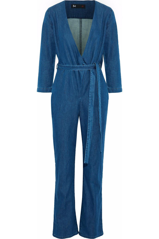3x1 | 3x1 Woman Moxy Wrap-effect Denim Jumpsuit Dark | Clouty