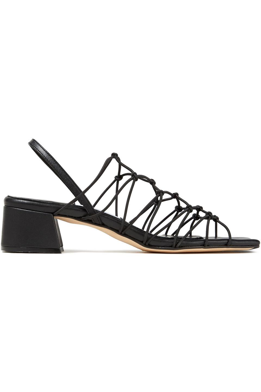 Miista | Miista Woman Frida Knotted Leather Slingback Sandals Black | Clouty