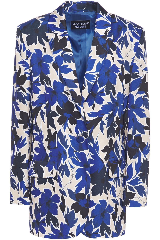 Boutique Moschino | Boutique Moschino Woman Floral-print Satin Blazer Cream | Clouty