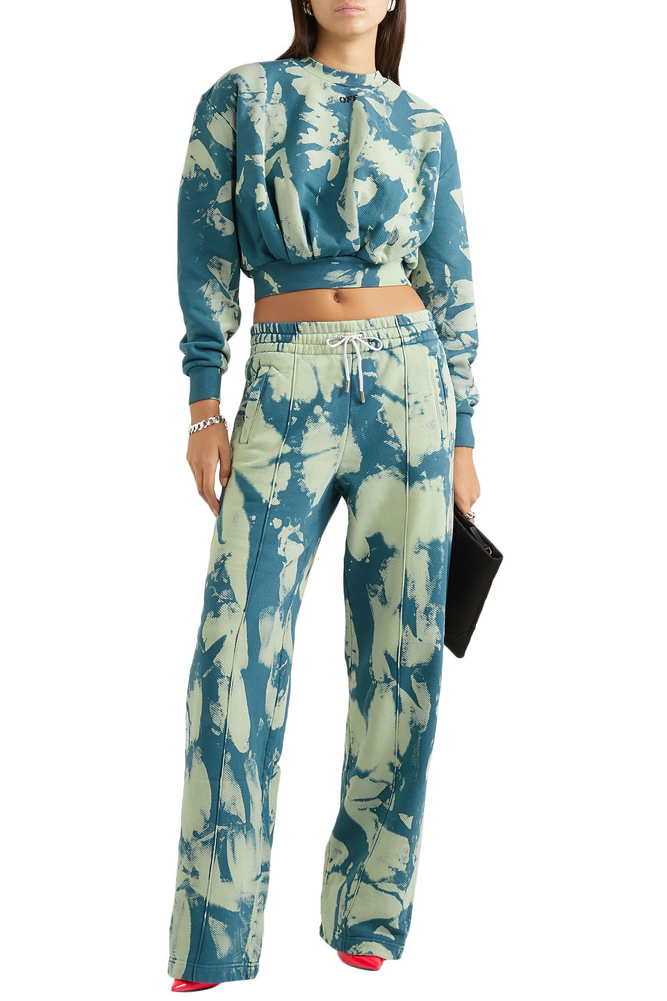 Off-White | Off-white™ Woman Tie-dyed Cotton-jersey Sweatpants Petrol | Clouty