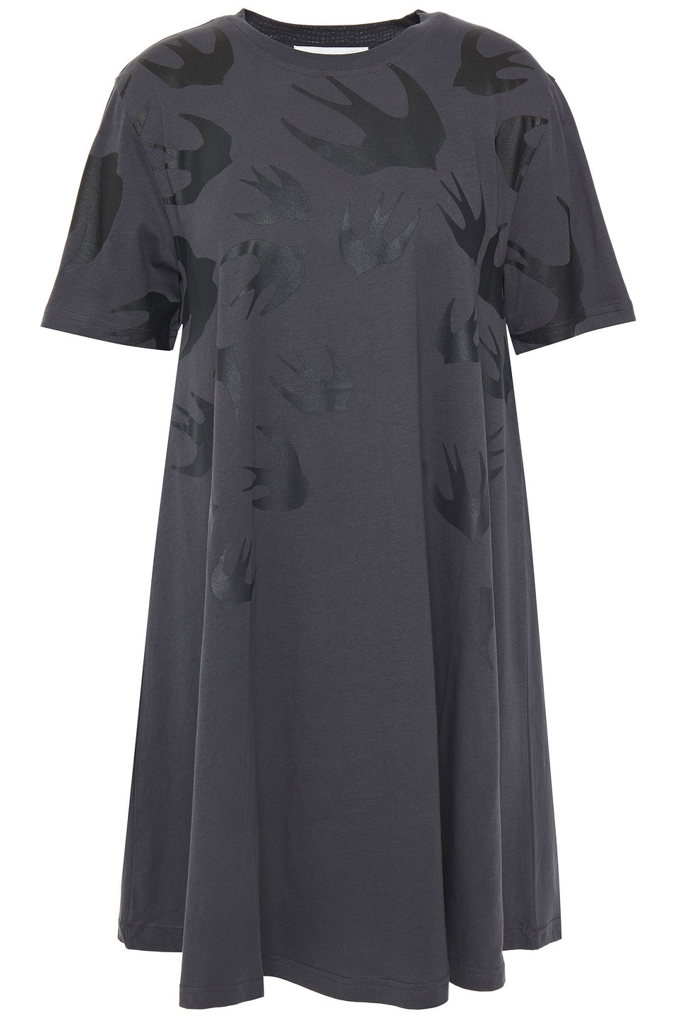 McQ Alexander Mcqueen | Mcq Alexander Mcqueen Woman Printed Cotton-jersey Mini Dress Anthracite | Clouty