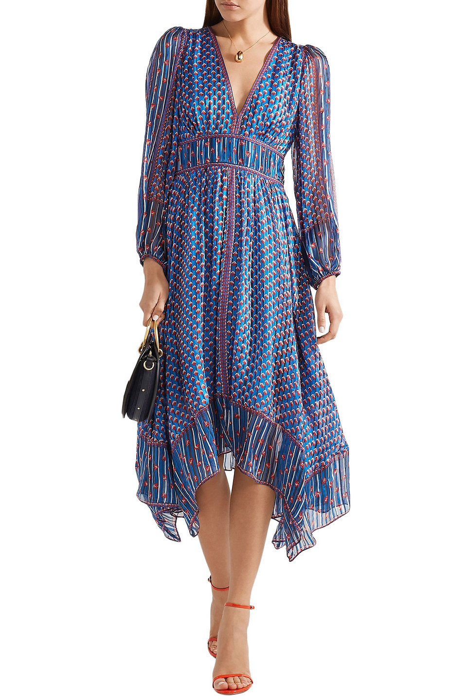 Ulla Johnson | Ulla Johnson Woman Asymmetric Silk-jacquard Dress Bright Blue | Clouty