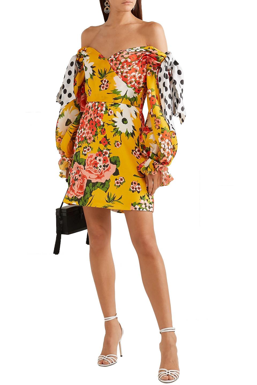 Carolina Herrera | Carolina Herrera Woman Floral-print Knotted Off-the-shoulder Printed Silk-organza Mini Dress Yellow | Clouty