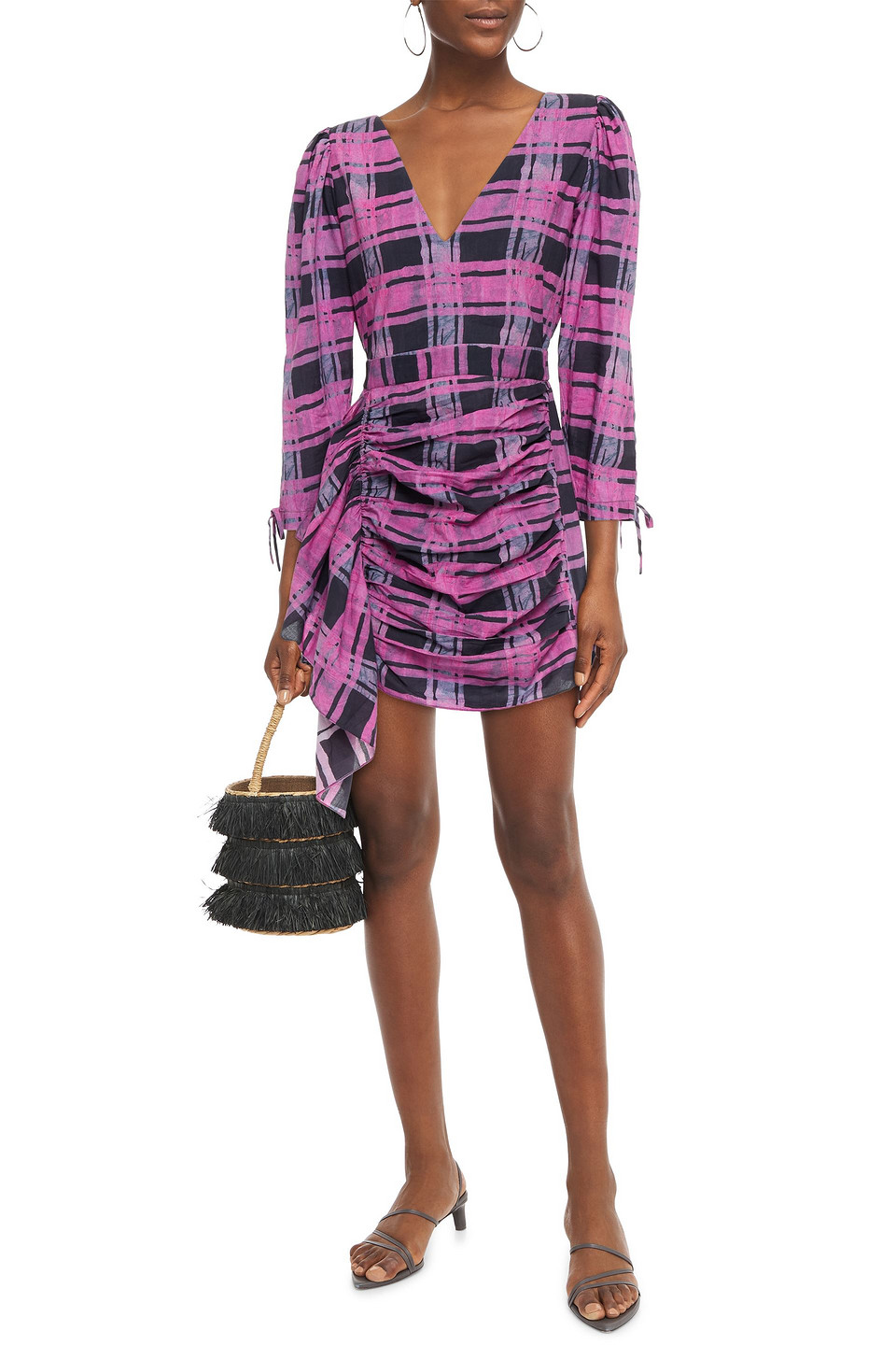 RHODE | Rhode Woman Piper Ruched Printed Cotton Mini Dress Magenta | Clouty