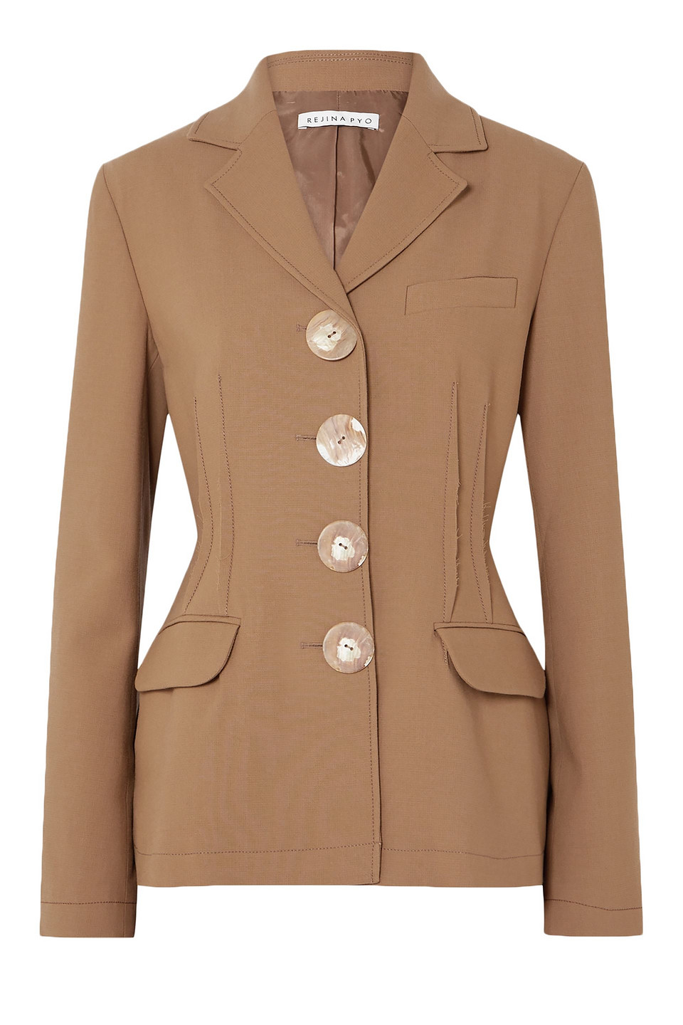 Rejina Pyo | Rejina Pyo Woman Etta Button-detailed Wool-twill Blazer Light Brown | Clouty