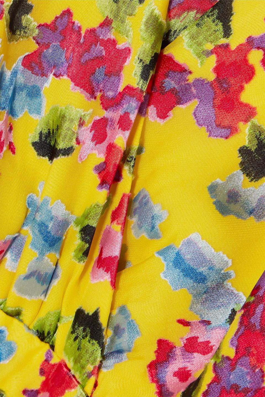Saloni | Saloni Woman Rita Wrap-effect Floral-print Devore-chiffon Midi Dress Yellow | Clouty