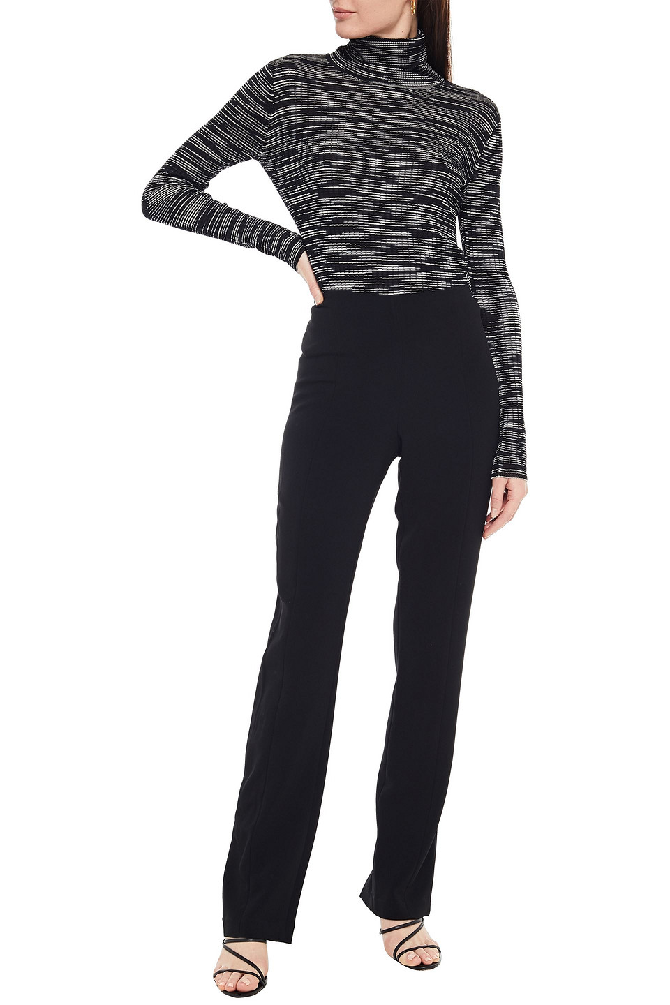 M Missoni | M Missoni Woman Metallic-trimmed Ribbed-knit Turtleneck Sweater Black | Clouty