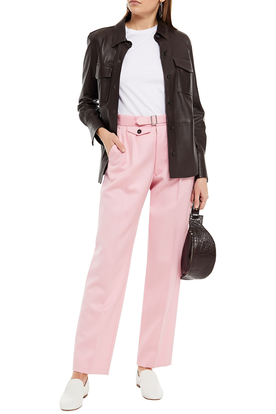 Maison Margiela | Maison Margiela Woman Belted Wool Tapered Pants Baby Pink | Clouty