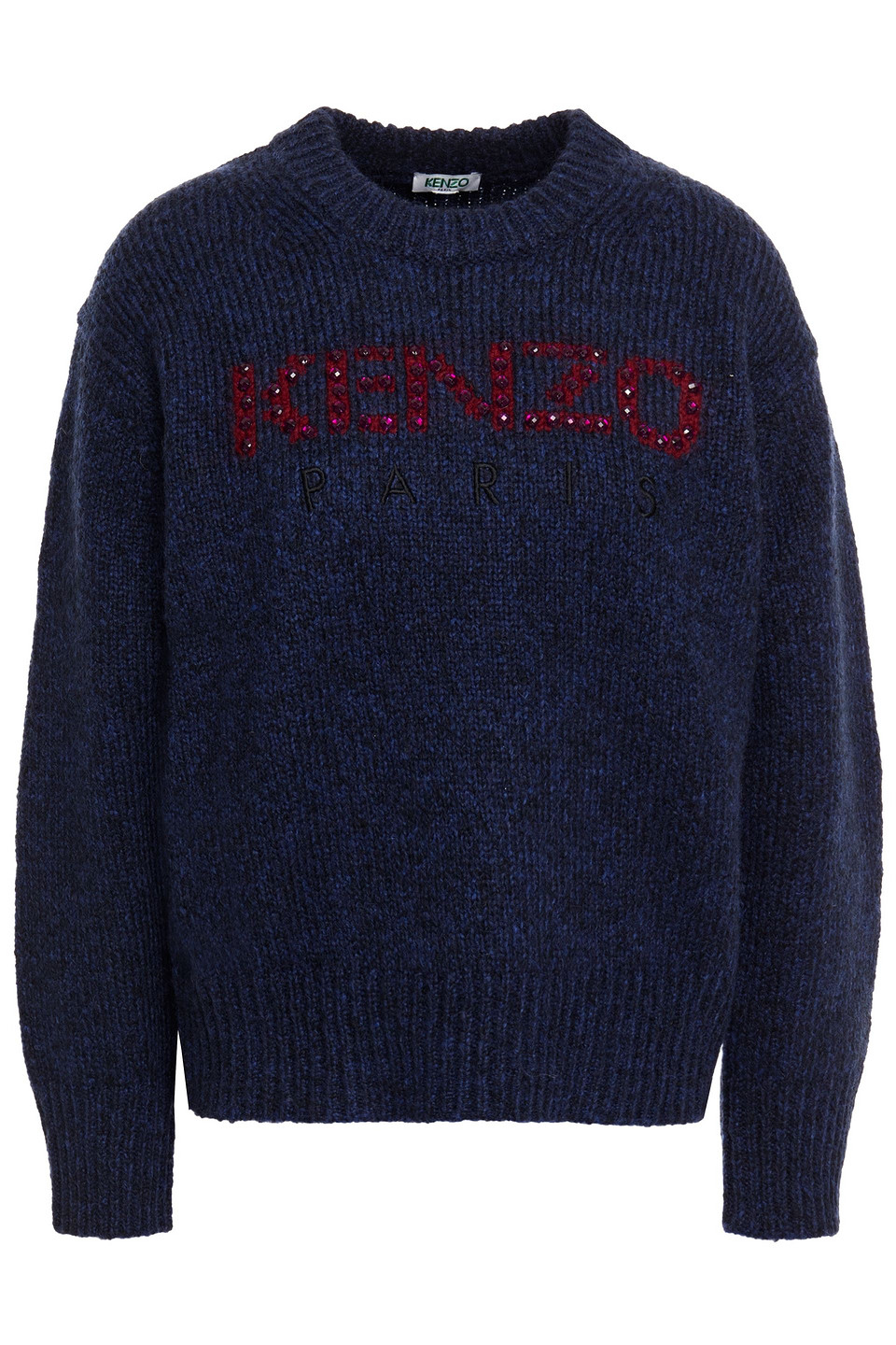 KENZO | Kenzo Woman Crystal-embellished Embroidered Brushed Intarsia-knit Sweater Navy | Clouty