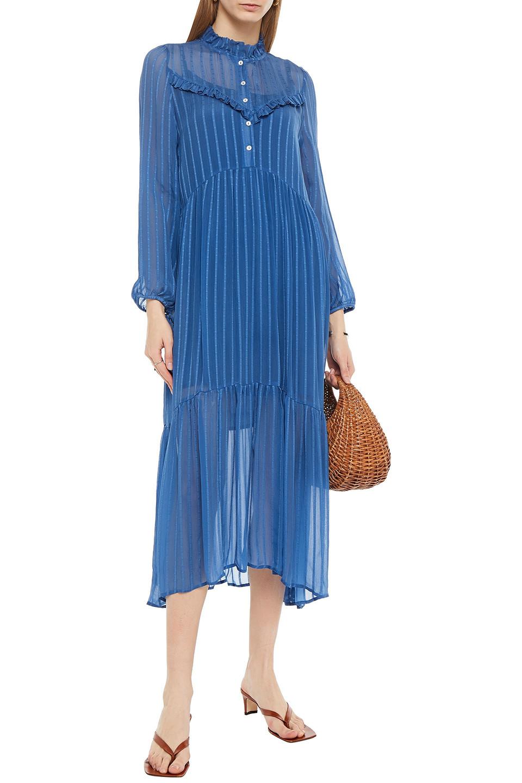CECILIE  COPENHAGEN | Cecilie Copenhagen Woman Nadine Ruffle-trimmed Striped Georgette Midi Dress Cobalt Blue | Clouty