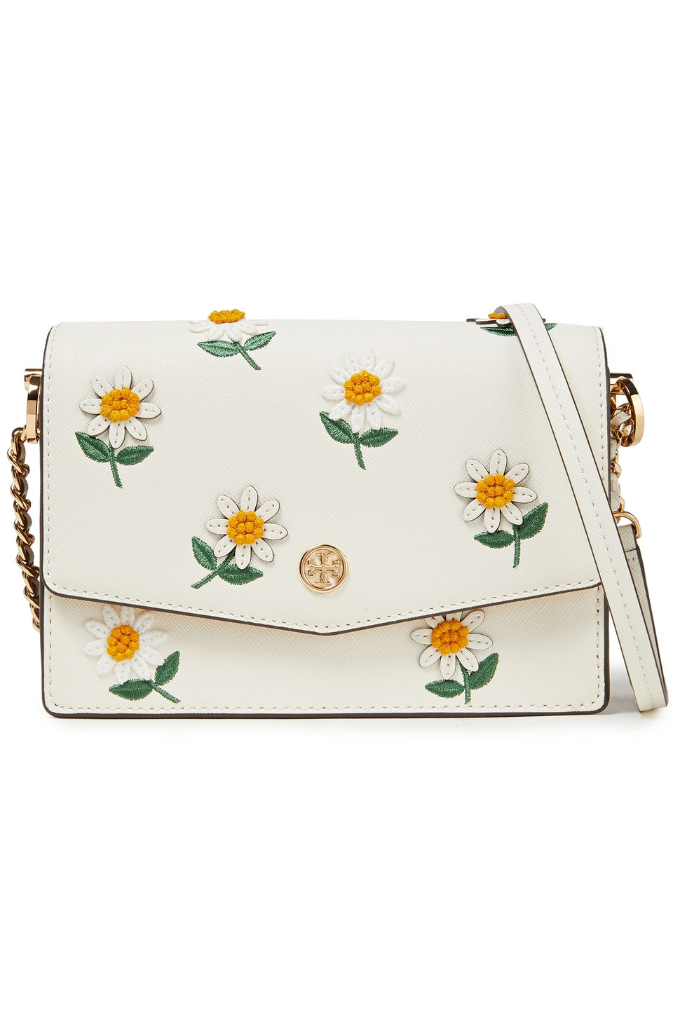 Tory Burch | Tory Burch Woman Floral-appliqued Textured-leather Shoulder Bag Ivory | Clouty