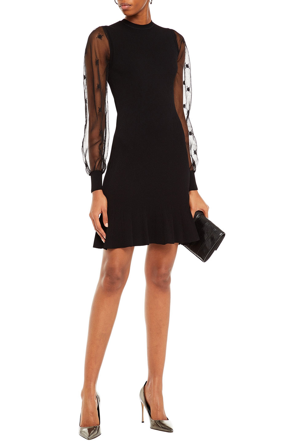 Alexander McQueen | Alexander Mcqueen Woman Burnout-effect Embroidered Ribbed-knit Mini Dress Black | Clouty