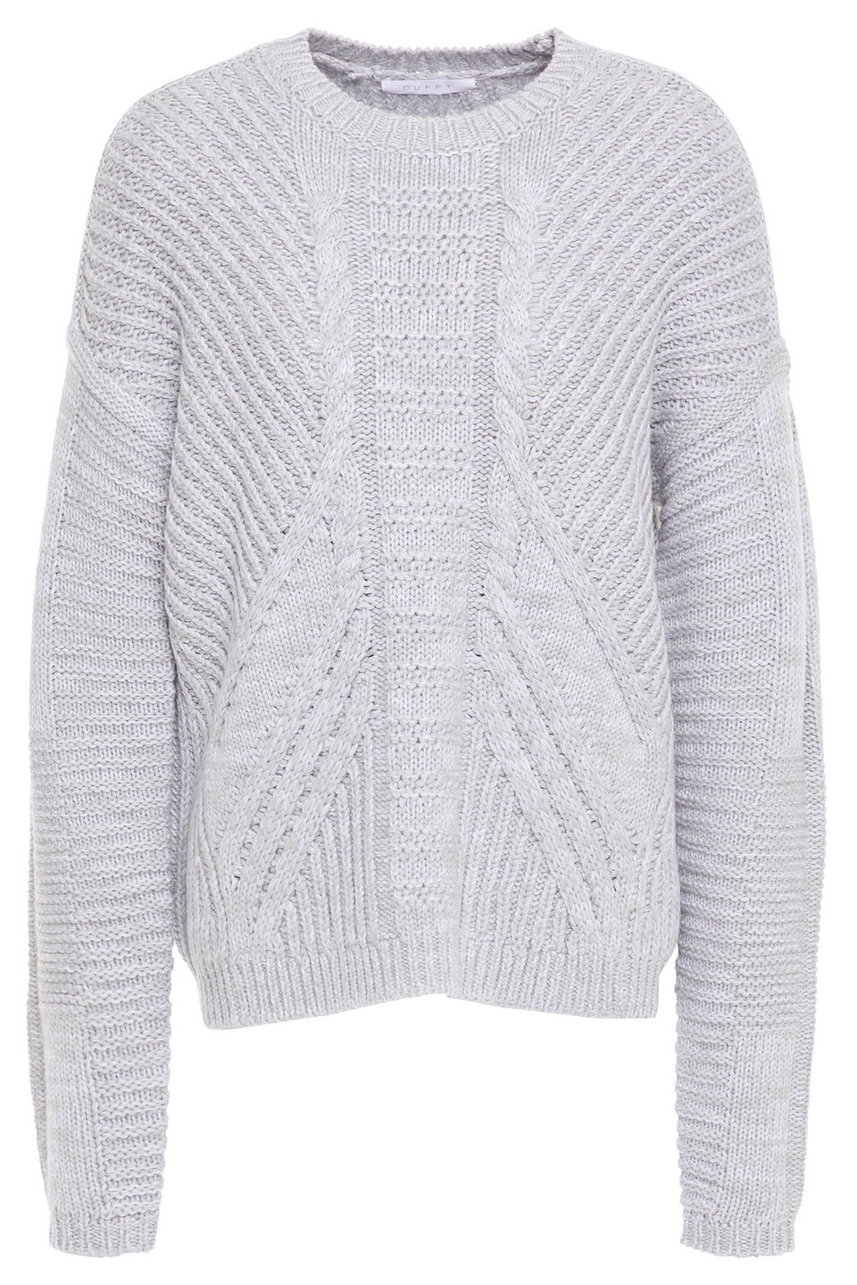 Duffy | Duffy Woman Cable-knit Merino Wool Sweater Light Gray | Clouty