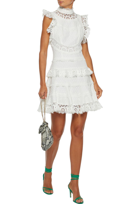 Zimmermann   Zimmermann Woman Peggy Tiered Swiss-dot Linen And Cotton-blend Mini Dress White   Clouty
