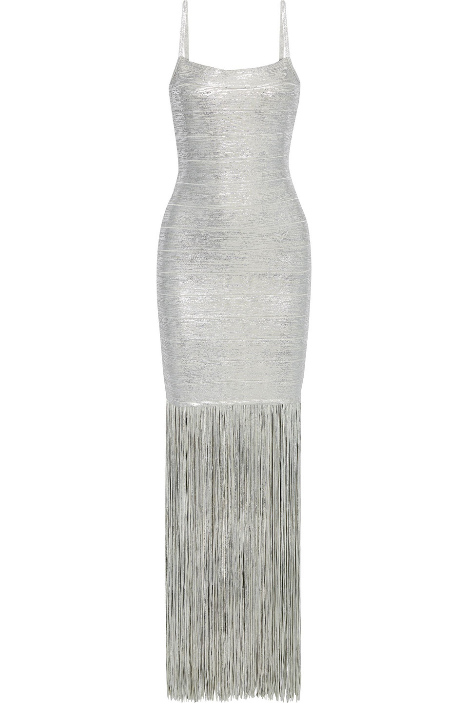 Hervé Léger   Herve Leger Woman Fringed Coated Metallic Bandage Gown Silver   Clouty