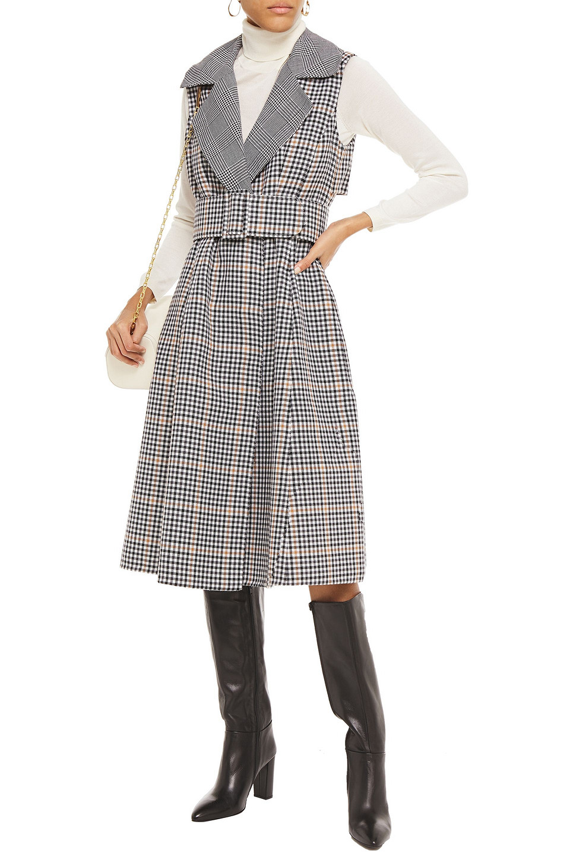 Oscar De La Renta | Oscar De La Renta Woman Flared Belted Gingham Wool-felt Midi Dress Black | Clouty