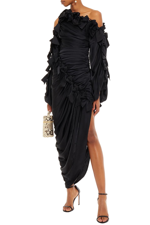 Zimmermann | Zimmermann Woman Asymmetric Cold-shoulder Bow-embellished Silk-satin Midi Dress Black | Clouty
