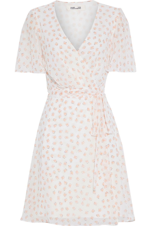 Diane Von Furstenberg | Diane Von Furstenberg Woman Kathy Floral-print Georgette Mini Wrap Dress Ivory | Clouty
