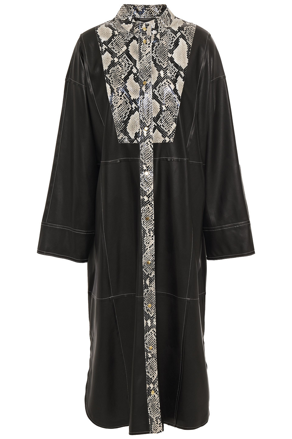 Stand Studio | Stand Studio Woman Ruby Paneled Faux Smooth And Snake-effect Leather Midi Dress Black | Clouty