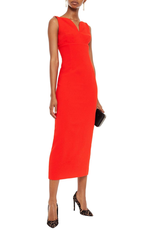 Emilia Wickstead | Emilia Wickstead Woman Mathilda Textured Crepe Midi Dress Red | Clouty