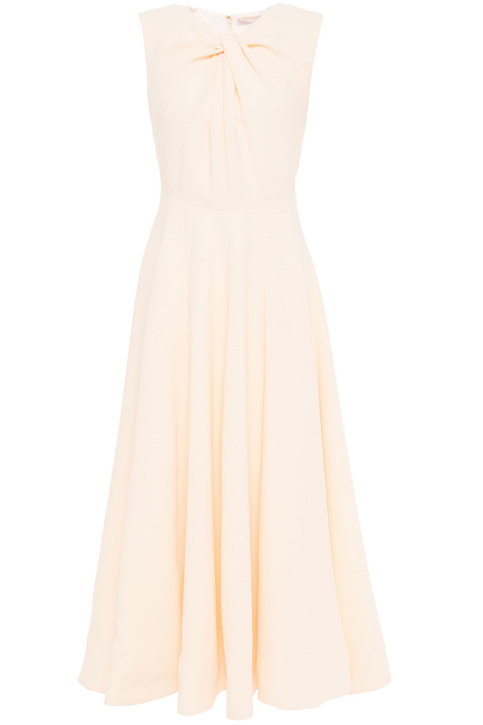 Emilia Wickstead | Emilia Wickstead Woman Meryl Twist-front Textured-crepe Midi Dress Baby Pink | Clouty