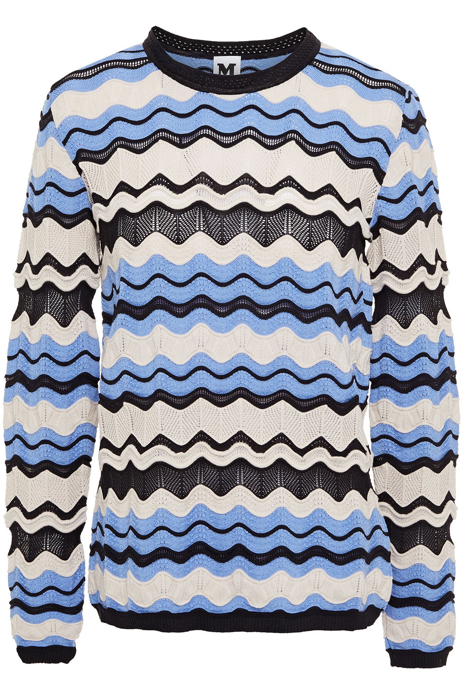 M Missoni   M Missoni Woman Crochet-knit Wool-blend Sweater Beige   Clouty
