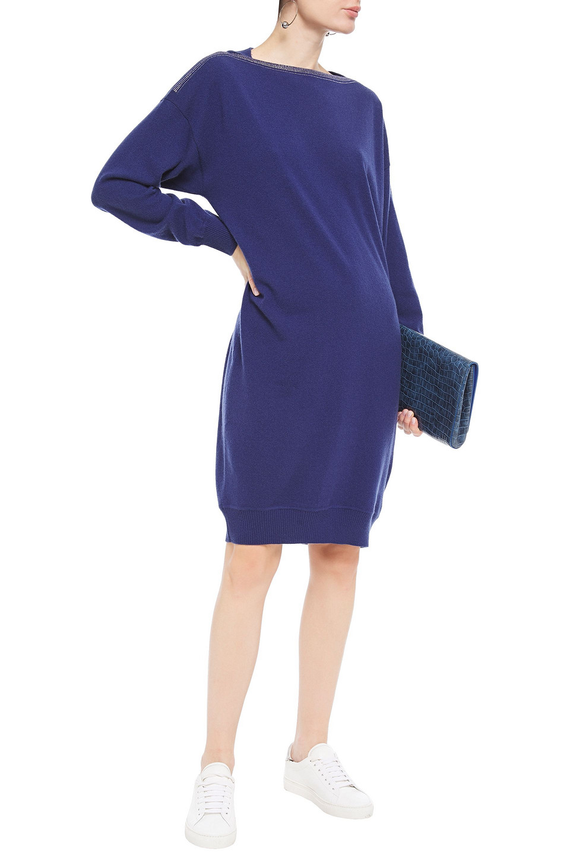 Gentryportofino   Gentryportofino Woman Crystal-embellished Wool And Cashmere-blend Dress Indigo   Clouty