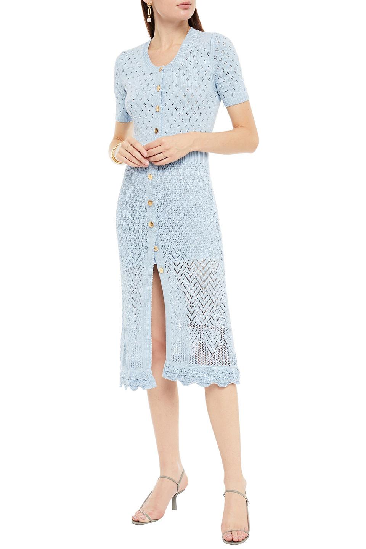 Altuzarra   Altuzarra Woman Pointelle-knit Midi Dress Sky Blue   Clouty