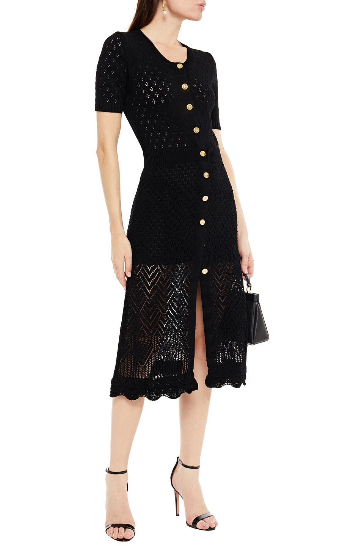 Altuzarra   Altuzarra Woman Pointelle-knit Midi Dress Black   Clouty