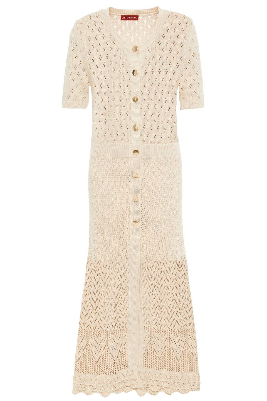 Altuzarra | Altuzarra Woman Pointelle-knit Midi Dress Beige | Clouty