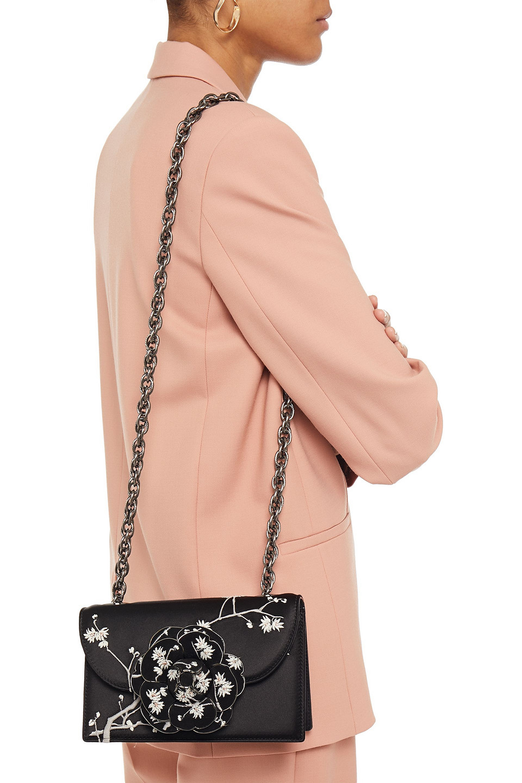 Oscar De La Renta | Oscar De La Renta Woman Embroidered Floral-appliqued Leather Shoulder Bag Black | Clouty