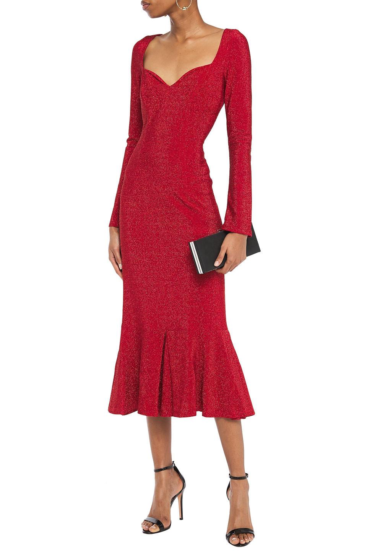 Sara Battaglia | Sara Battaglia Woman Fluted Metallic Jersey Midi Dress Red | Clouty