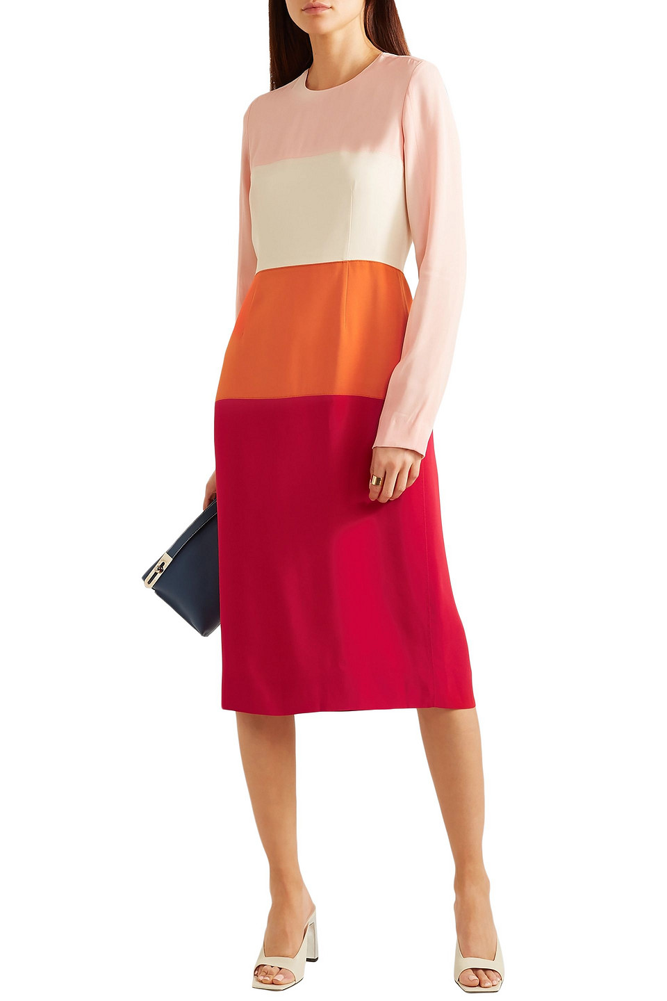 Marni | Marni Woman Color-block Crepe Dress Multicolor | Clouty
