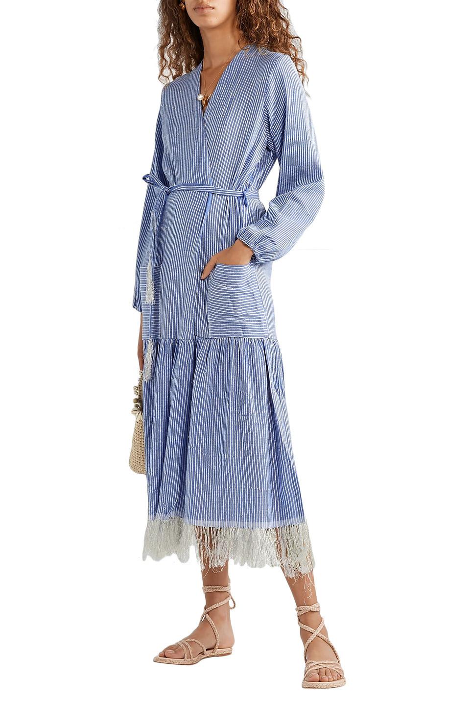 Lemlem | Lemlem Woman Zinab Fringed Metallic Striped Cotton-blend Voile Robe Blue | Clouty