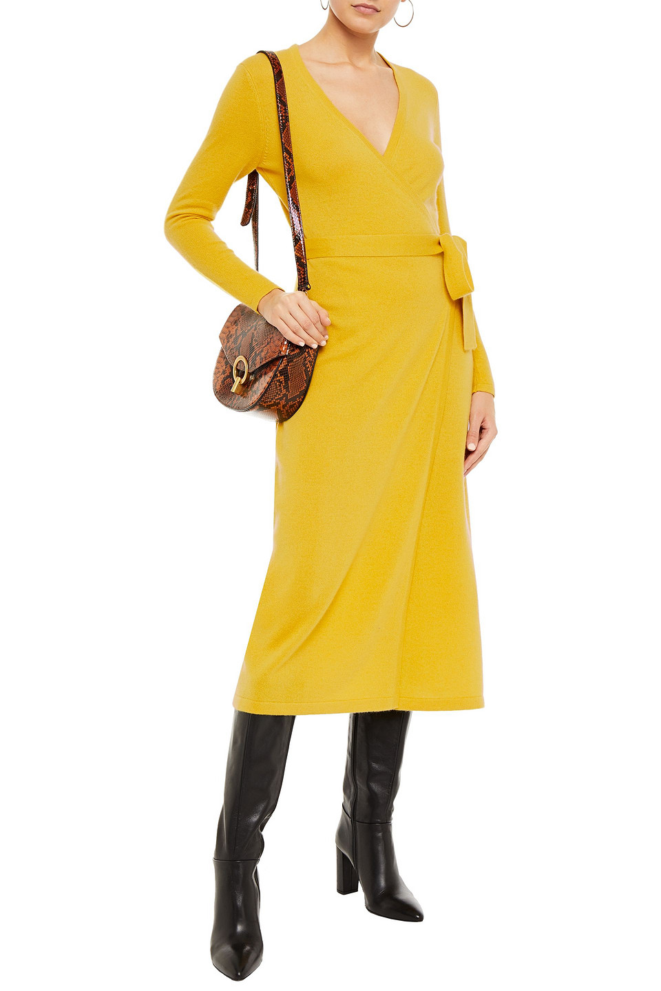 Diane Von Furstenberg   Diane Von Furstenberg Woman Astrid Wool And Cashmere-blend Midi Wrap Dress Mustard   Clouty