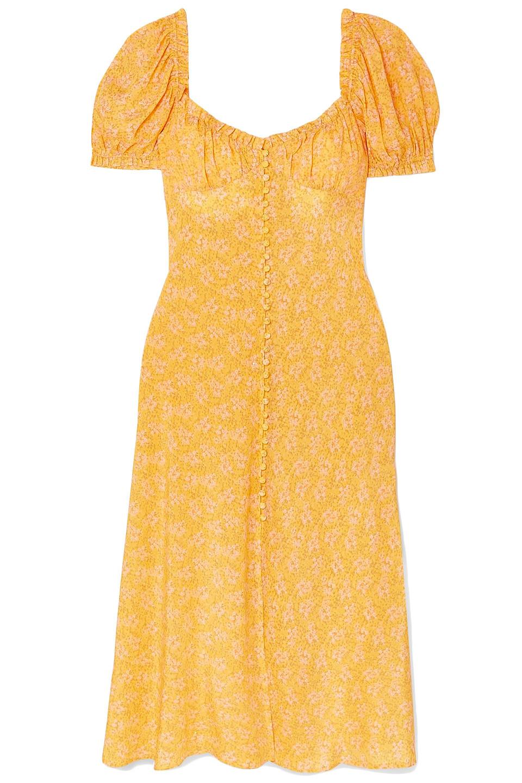 Rixo | Rixo Woman Tammy Ruffled Floral-print Silk-georgette Dress Saffron | Clouty