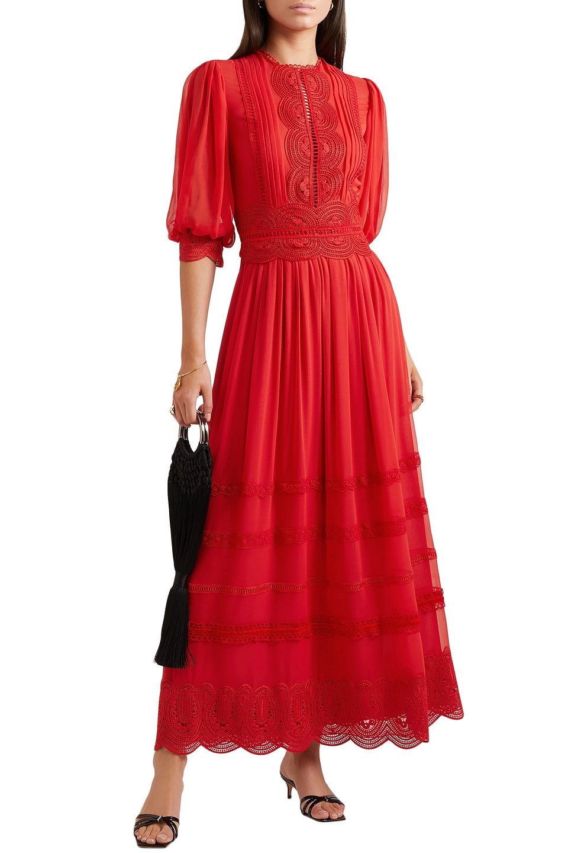 COSTARELLOS | Costarellos Woman Crocheted Lace-trimmed Silk Crepe De Chine Maxi Dress Red | Clouty