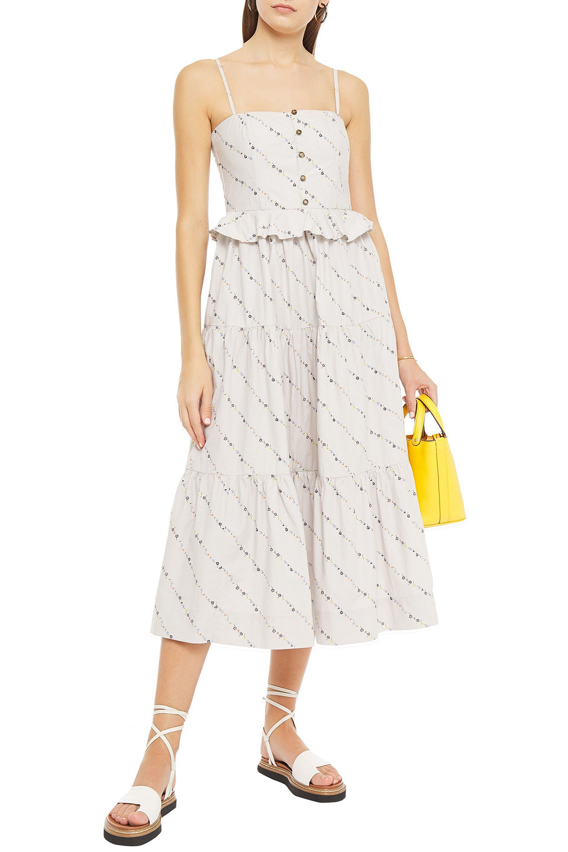 Ganni | Ganni Woman Ruffle-trimmed Floral-print Cotton-poplin Midi Dress Ecru | Clouty