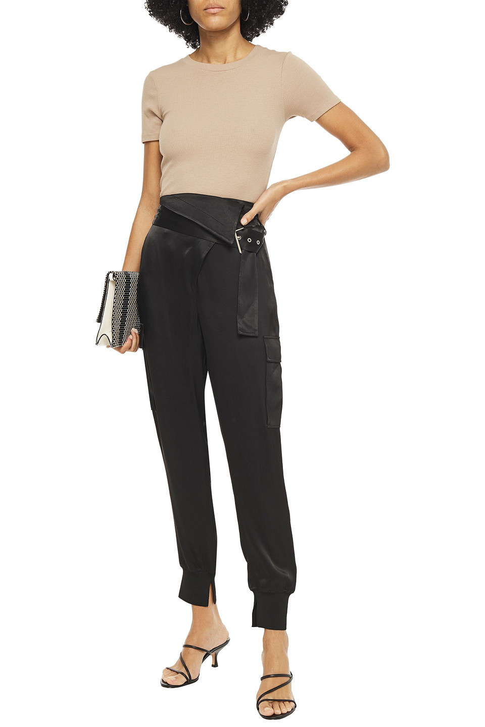 3.1 Phillip Lim   3.1 Phillip Lim Woman Belted Satin-crepe Tapered Pants Black   Clouty