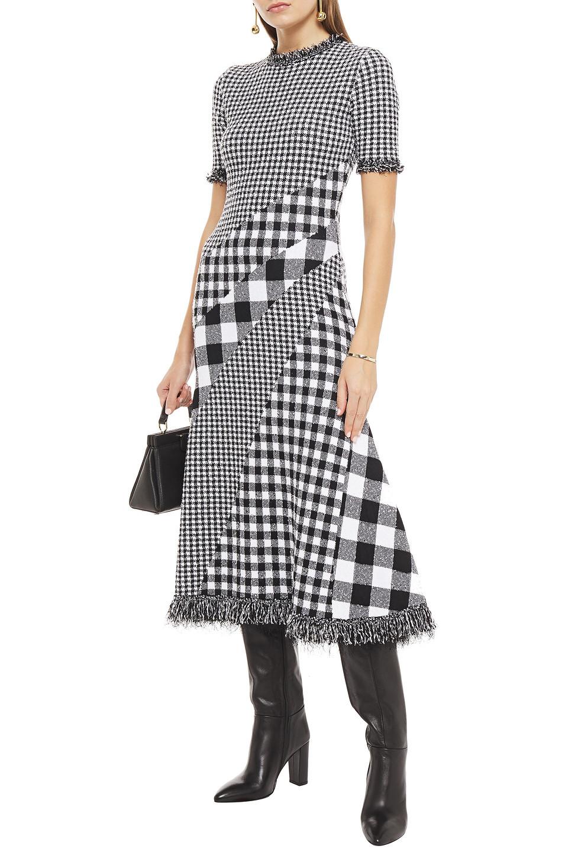 Oscar De La Renta   Oscar De La Renta Woman Paneled Checked Jacquard Midi Dress Black   Clouty