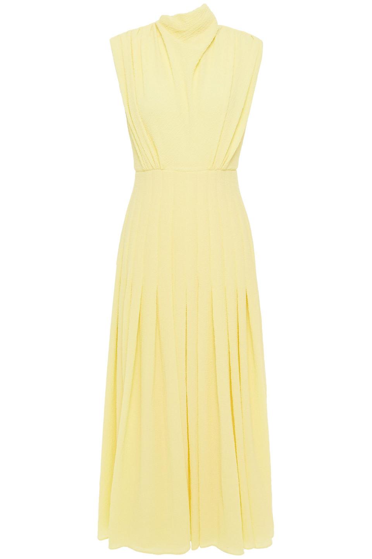 Emilia Wickstead | Emilia Wickstead Woman Roseann Pleated Crepe-seersucker Midi Dress Pastel Yellow | Clouty