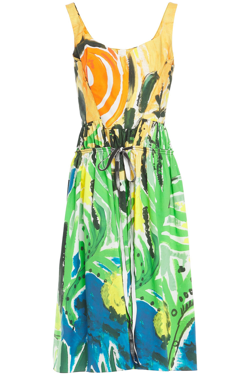 Marni | Marni Woman Gathered Printed Cotton-poplin Midi Dress Green | Clouty