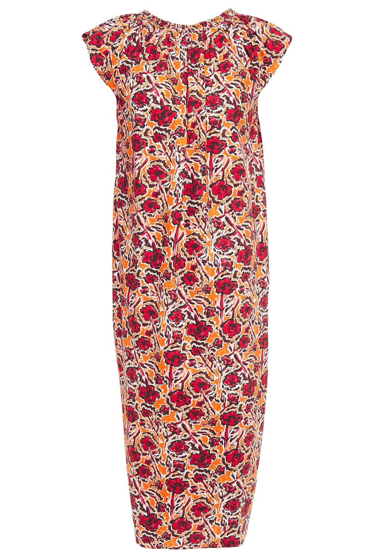 Marni | Marni Woman Gathered Printed Cotton-poplin Midi Dress Orange | Clouty
