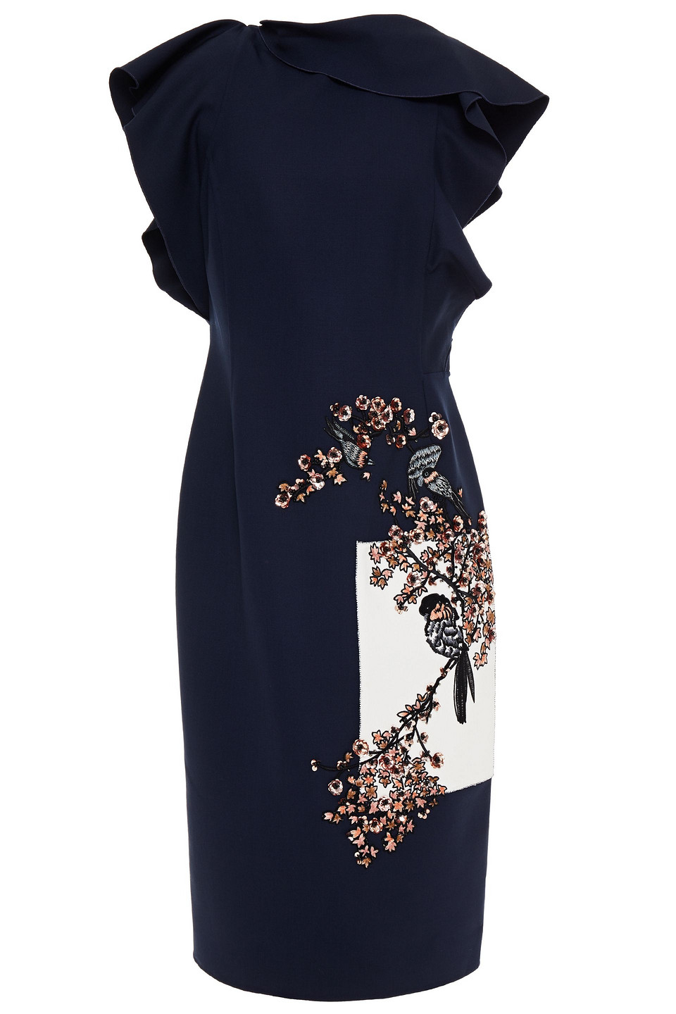 Oscar De La Renta | Oscar De La Renta Woman Embellished Embroidered Wool-blend Crepe Dress Midnight Blue | Clouty