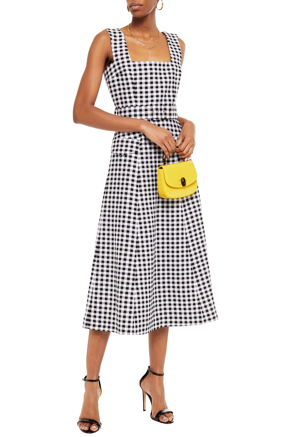 Emilia Wickstead | Emilia Wickstead Woman Petra Belted Gingham Cloque Midi Dress Black | Clouty