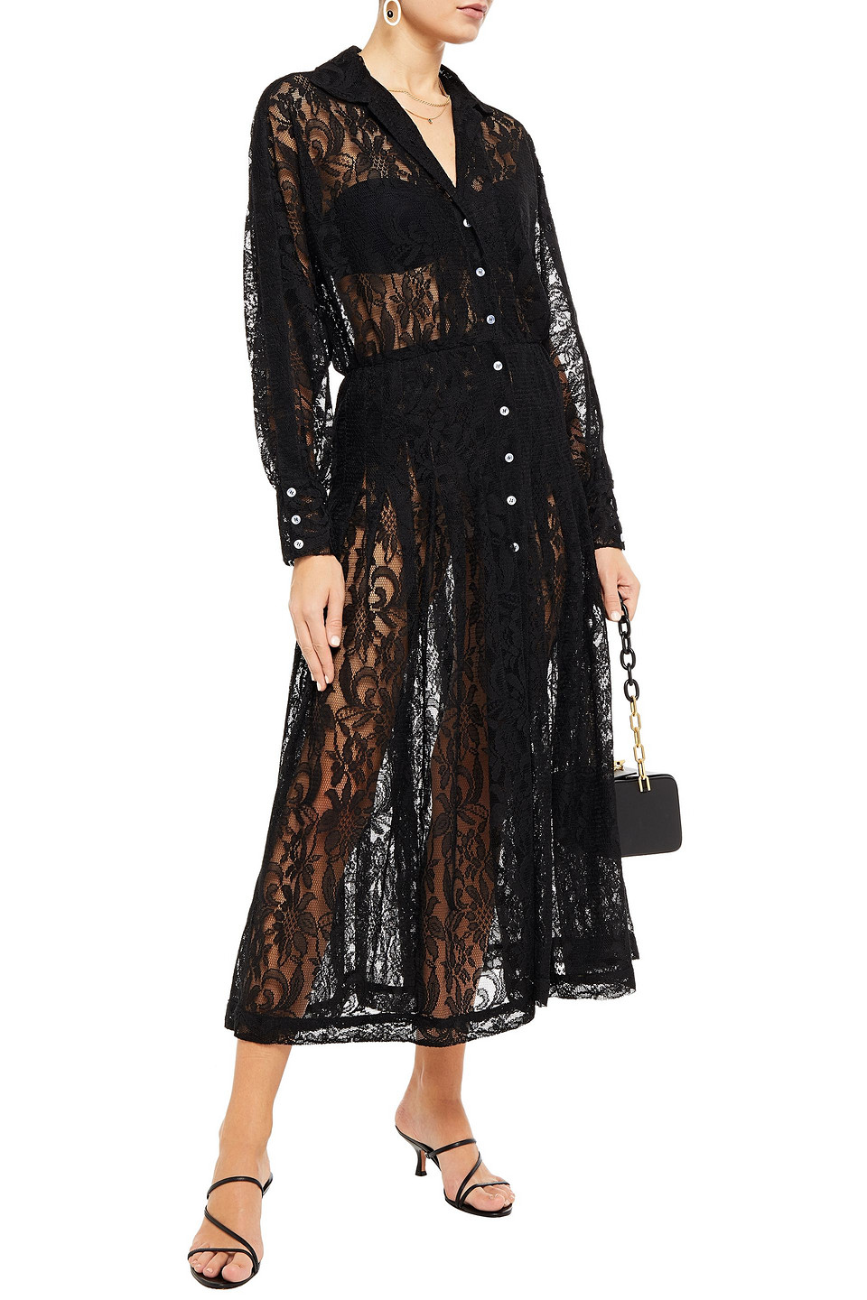 Dodo Bar Or | Dodo Bar Or Woman Pleated Lace Midi Dress Black | Clouty